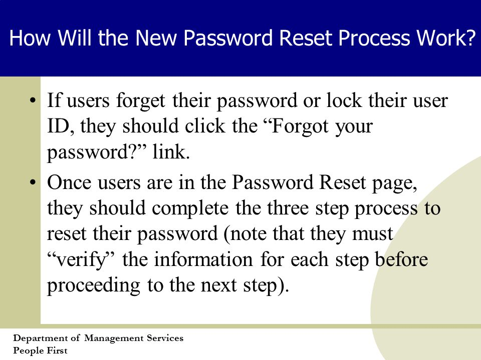 Department of Management Services People First How Will the New Password Reset Process Work.