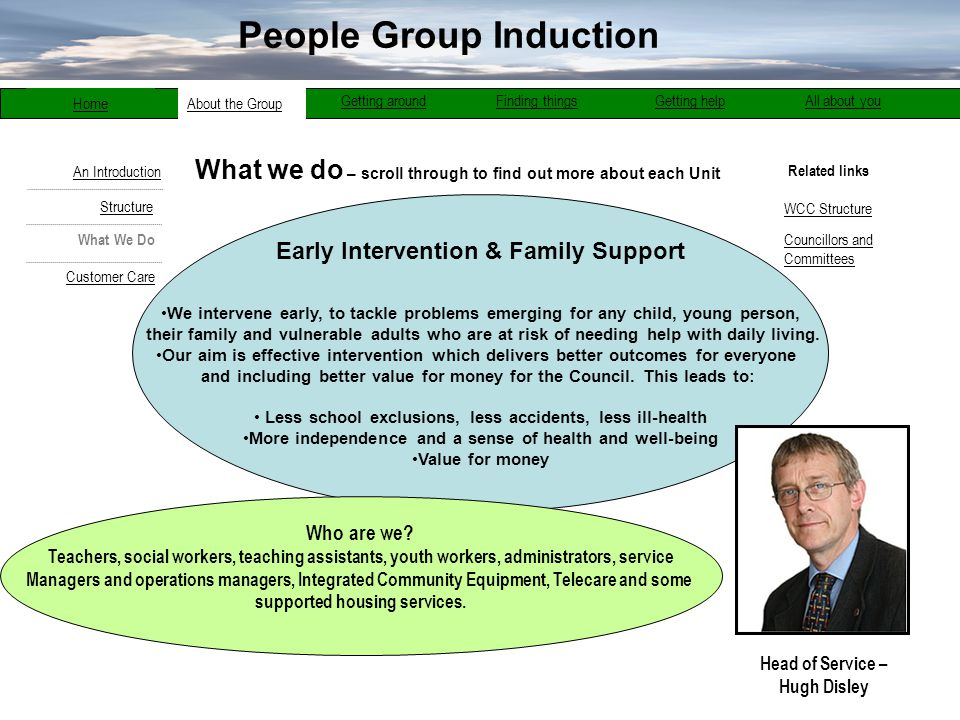 What we do – scroll through to find out more about each Unit Related links About the Group bout the Group Getting aroundFinding thingsGetting helpAll