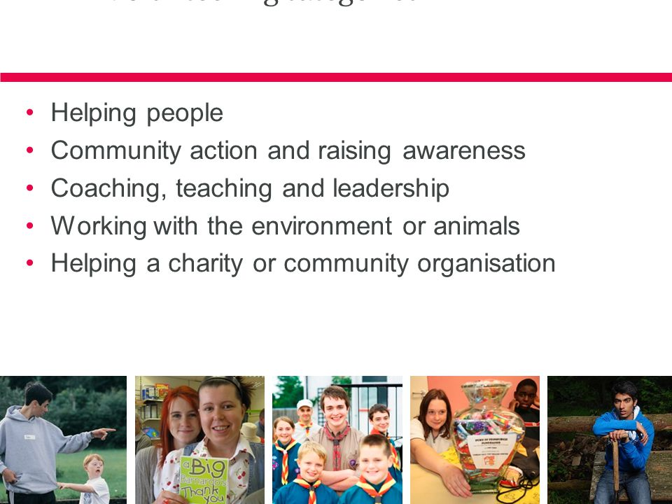 Volunteering categories Helping people Community action and raising awareness Coaching, teaching and leadership Working with the environment or animal