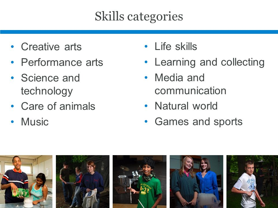 Skills categories Creative arts Performance arts Science and technology Care of animals Music Life skills Learning and collecting Media and communicat