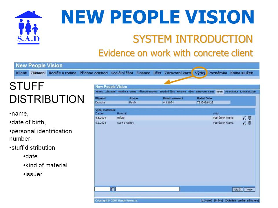NEW PEOPLE VISION SYSTEM INTRODUCTION Evidence on work with concrete client STUFF DISTRIBUTION name, date of birth, personal identification number, stuff distribution date kind of material issuer