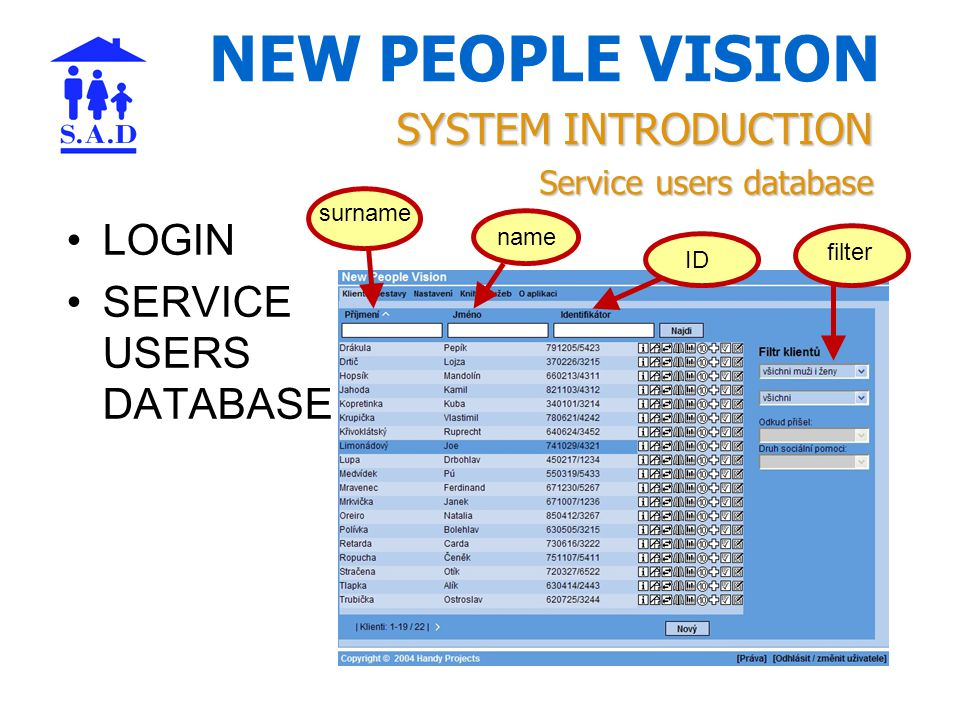 NEW PEOPLE VISION LOGIN SERVICE USERS DATABASE SYSTEM INTRODUCTION Service users database surname name ID filter