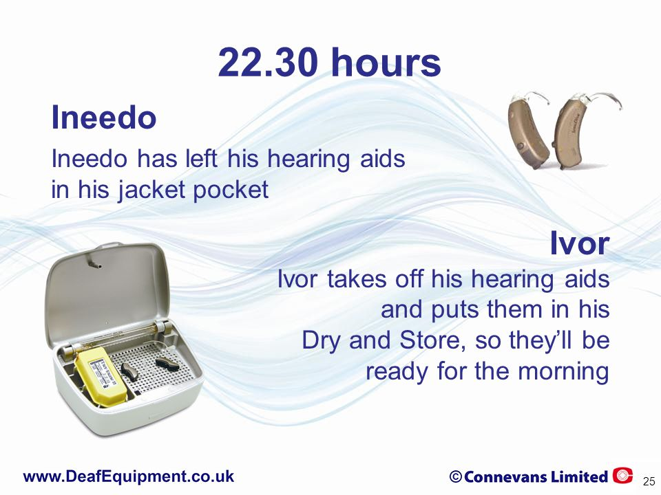 22.30 hours Ineedo Ineedo has left his hearing aids in his jacket pocket Ivor Ivor takes off his hearing aids and puts them in his Dry and Store, so they'll be ready for the morning 25