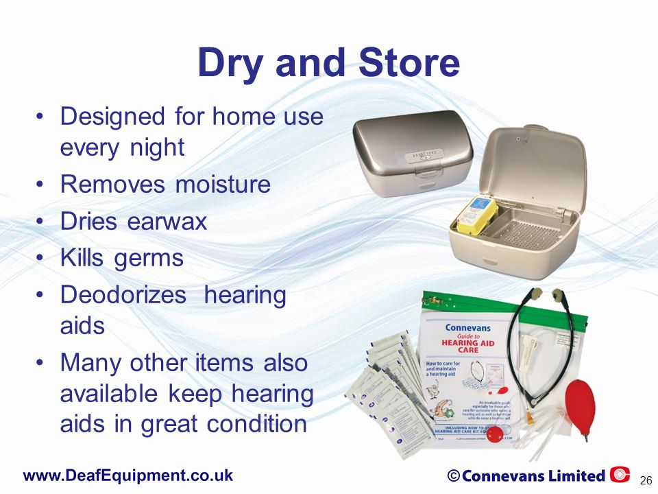 Dry and Store Designed for home use every night Removes moisture Dries earwax Kills germs Deodorizes hearing aids Many other items also available keep hearing aids in great condition 26