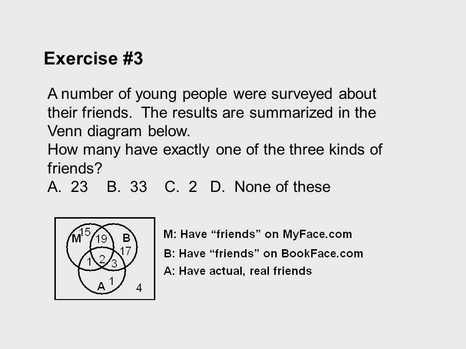 Exercise #3 A number of young people were surveyed about their friends. The results are summarized in the Venn diagram below. How many have exactly on