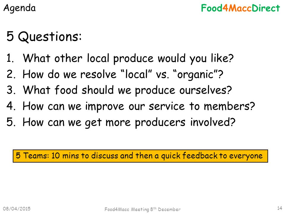 """5 Questions: 1.What other local produce would you like? 2.How do we resolve """"local"""" vs. """"organic""""? 3.What food should we produce ourselves? 4.How can"""