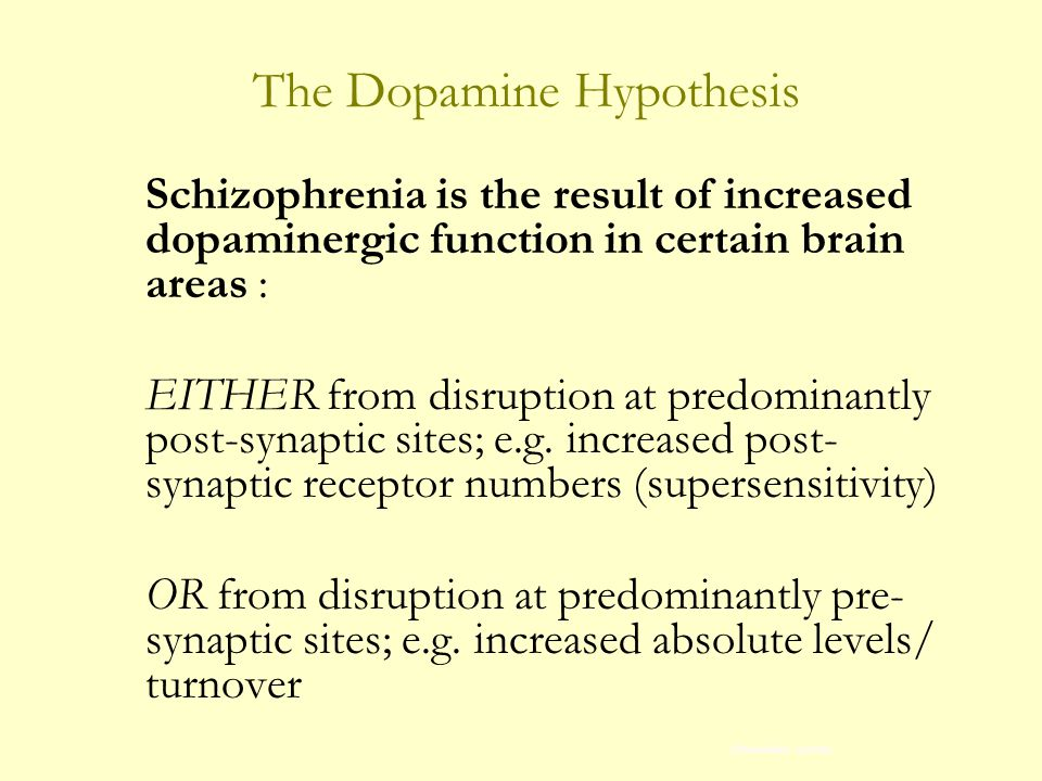 The Dopamine Hypothesis Schizophrenia is the result of increased dopaminergic function in certain brain areas : EITHER from disruption at predominantly post-synaptic sites; e.g.