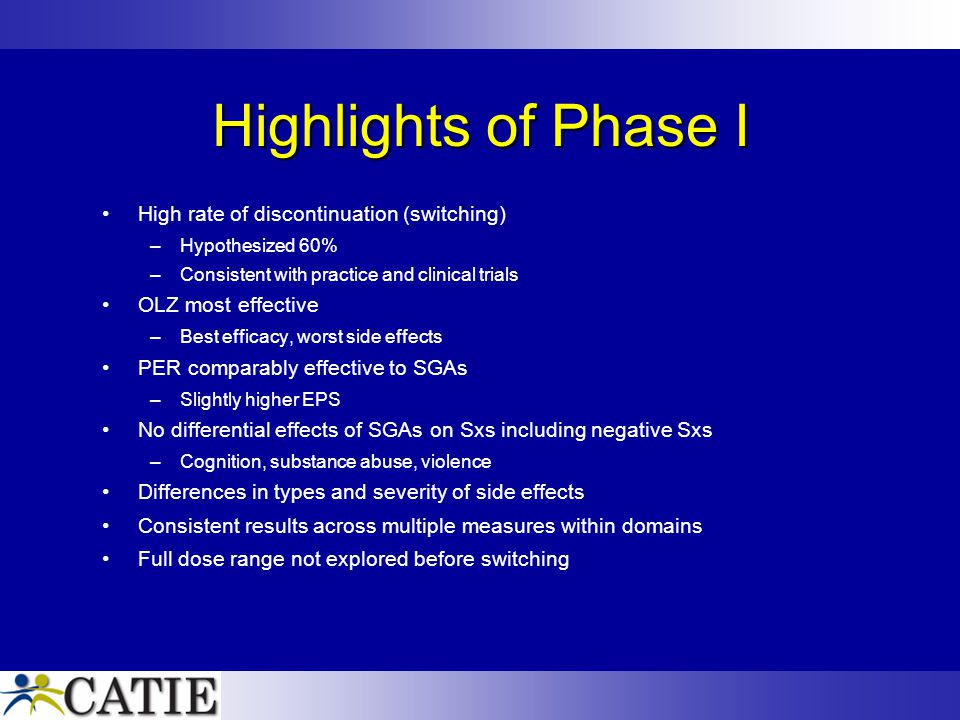 Highlights of Phase I High rate of discontinuation (switching) –Hypothesized 60% –Consistent with practice and clinical trials OLZ most effective –Bes