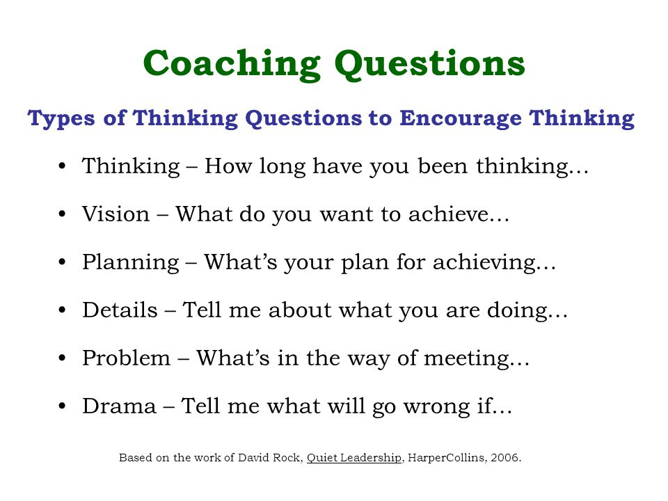 Thinking – How long have you been thinking… Vision – What do you want to achieve… Planning – What's your plan for achieving… Details – Tell me about what you are doing… Problem – What's in the way of meeting… Drama – Tell me what will go wrong if… Coaching Questions Based on the work of David Rock, Quiet Leadership, HarperCollins, 2006.