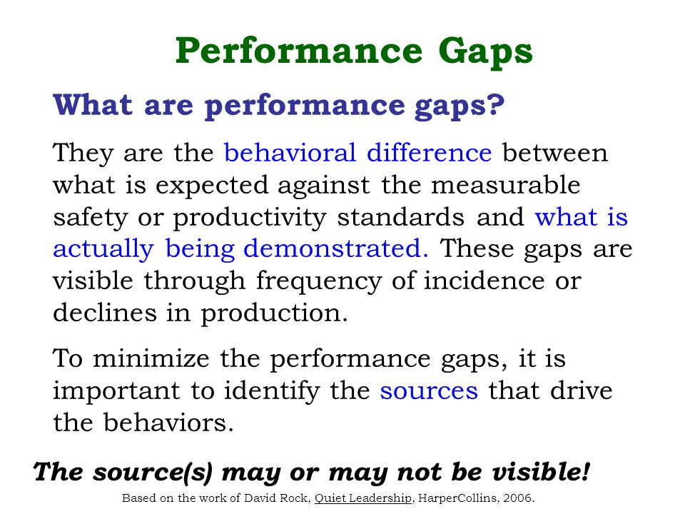 What are performance gaps.