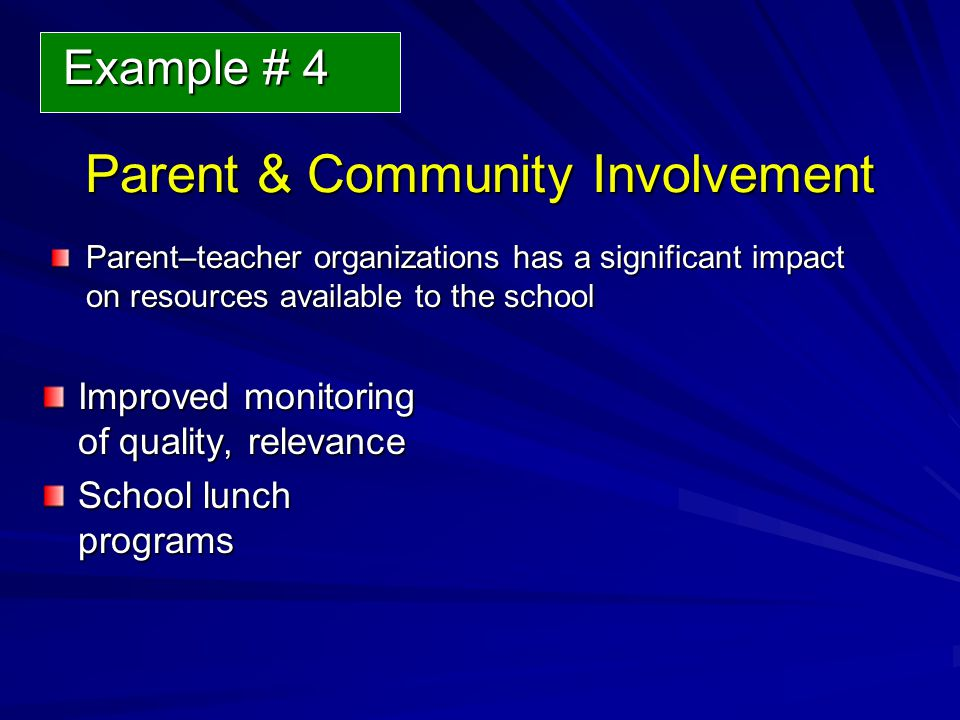 Parent & Community Involvement Parent–teacher organizations has a significant impact on resources available to the school Improved monitoring of quality, relevance School lunch programs Example # 4 Example # 4