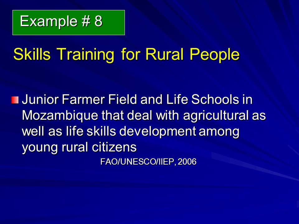 Skills Training for Rural People Junior Farmer Field and Life Schools in Mozambique that deal with agricultural as well as life skills development among young rural citizens FAO/UNESCO/IIEP, 2006 Example # 8 Example # 8