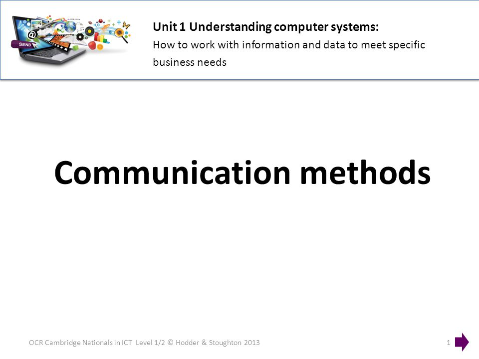 Unit 1 Understanding computer systems: How to work with information and data to meet specific business needs OCR Cambridge Nationals in ICT Level 1/2