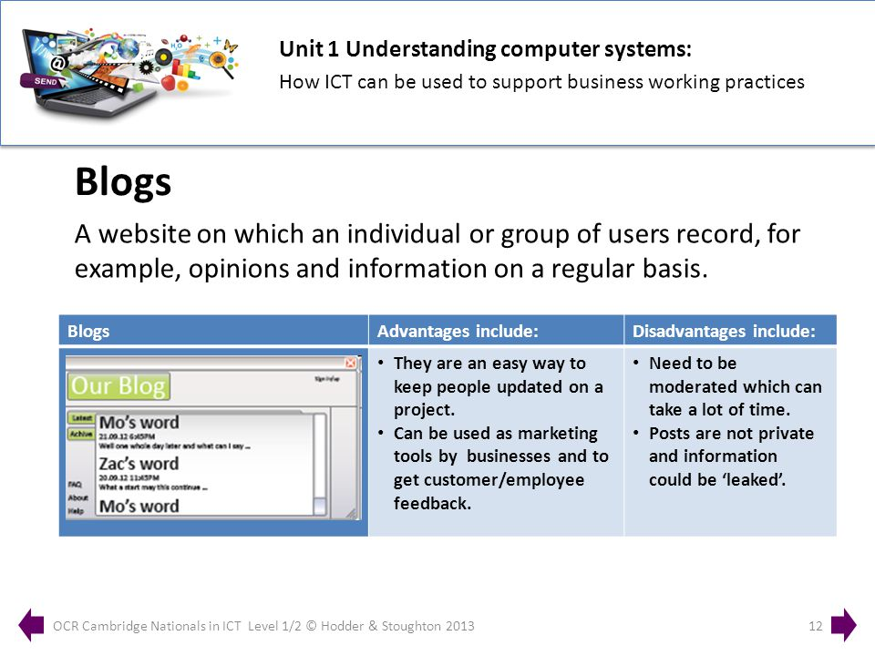 Unit 1 Understanding computer systems: How ICT can be used to support business working practices OCR Cambridge Nationals in ICT Level 1/2 © Hodder & Stoughton 201312 A website on which an individual or group of users record, for example, opinions and information on a regular basis.