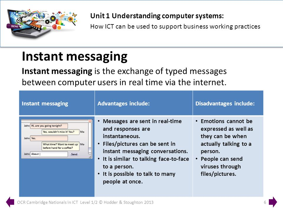 Unit 1 Understanding computer systems: How ICT can be used to support business working practices OCR Cambridge Nationals in ICT Level 1/2 © Hodder & Stoughton 20136 Instant messaging is the exchange of typed messages between computer users in real time via the internet.