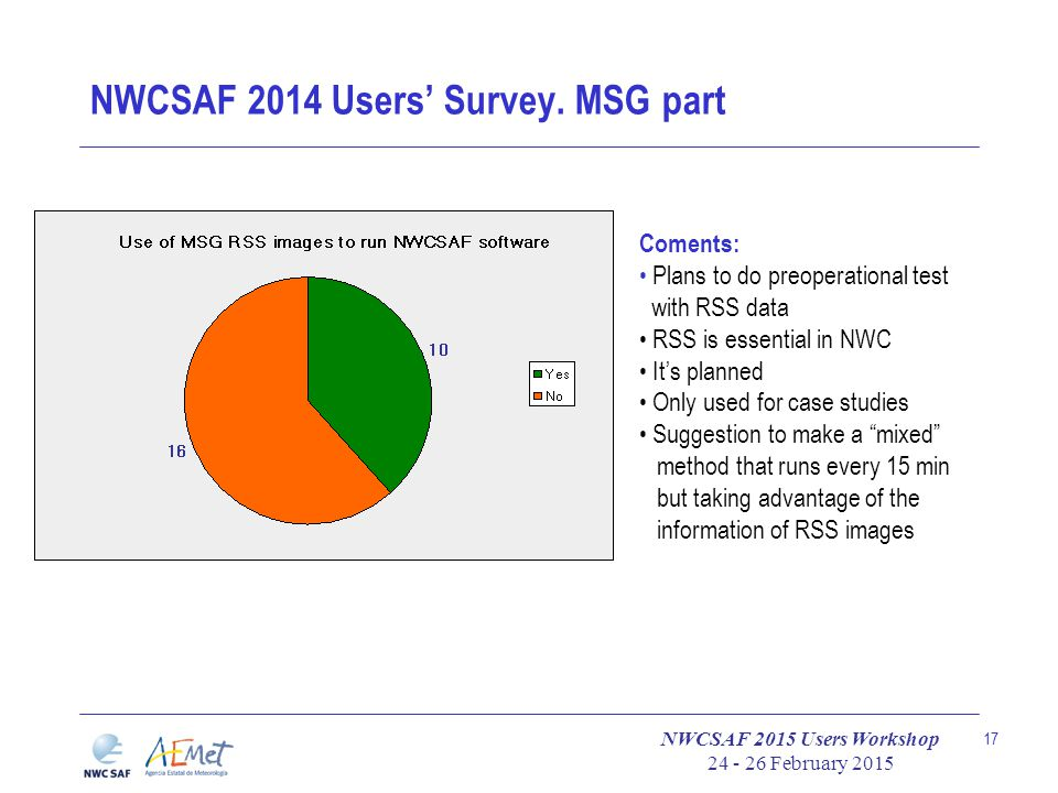 NWCSAF 2015 Users Workshop 24 - 26 February 2015 17 NWCSAF 2014 Users' Survey. MSG part Coments: Plans to do preoperational test with RSS data RSS is