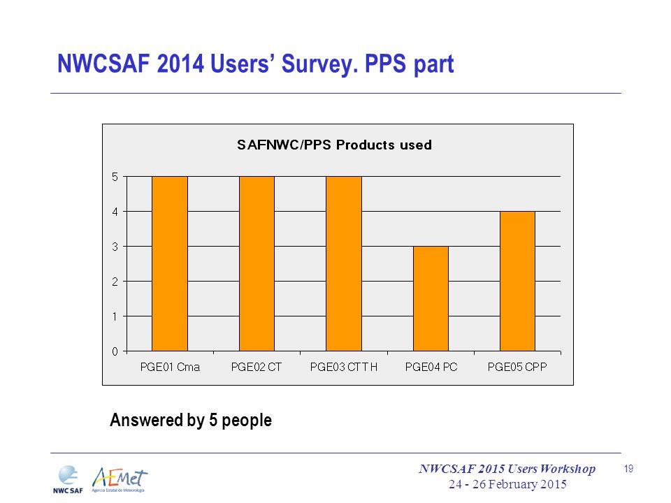 NWCSAF 2015 Users Workshop 24 - 26 February 2015 19 NWCSAF 2014 Users' Survey.