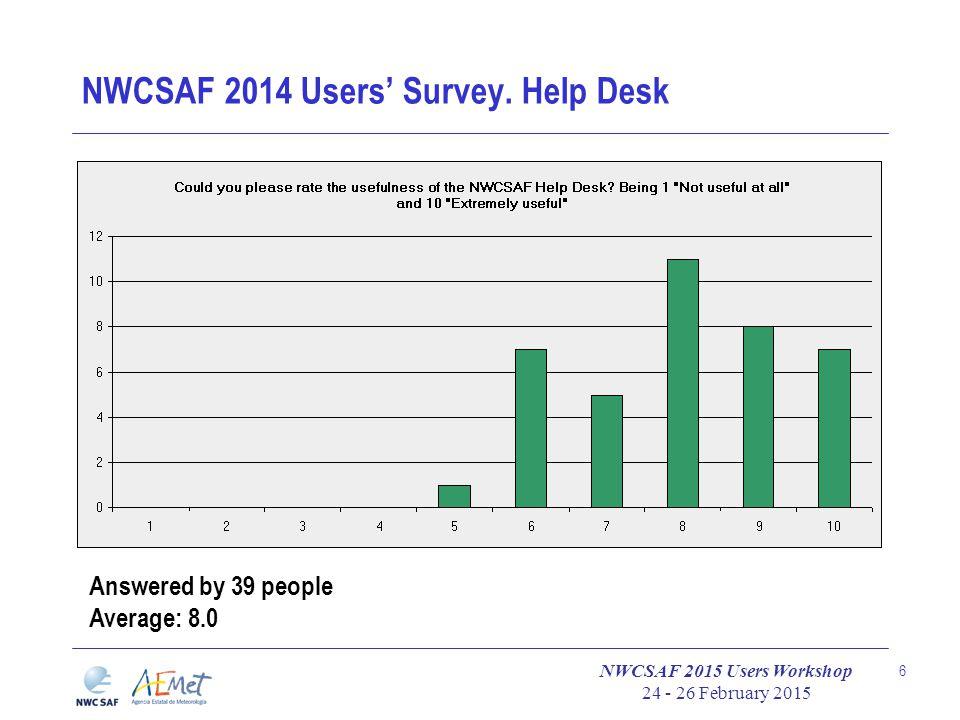 NWCSAF 2015 Users Workshop 24 - 26 February 2015 6 NWCSAF 2014 Users' Survey.