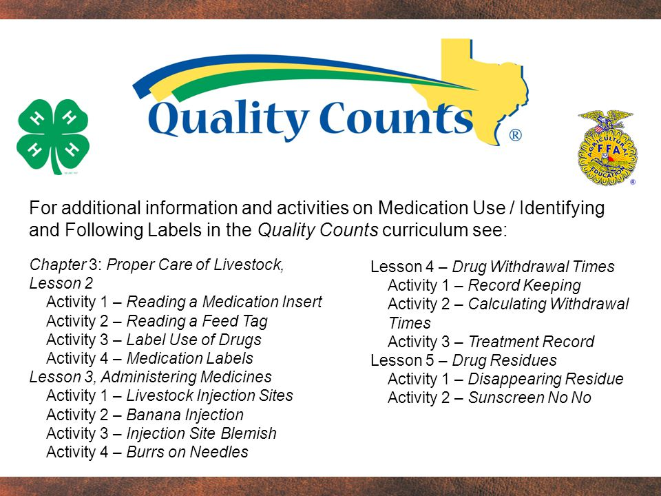 For additional information and activities on Medication Use / Identifying and Following Labels in the Quality Counts curriculum see: Lesson 4 – Drug Withdrawal Times Activity 1 – Record Keeping Activity 2 – Calculating Withdrawal Times Activity 3 – Treatment Record Lesson 5 – Drug Residues Activity 1 – Disappearing Residue Activity 2 – Sunscreen No No Chapter 3: Proper Care of Livestock, Lesson 2 Activity 1 – Reading a Medication Insert Activity 2 – Reading a Feed Tag Activity 3 – Label Use of Drugs Activity 4 – Medication Labels Lesson 3, Administering Medicines Activity 1 – Livestock Injection Sites Activity 2 – Banana Injection Activity 3 – Injection Site Blemish Activity 4 – Burrs on Needles