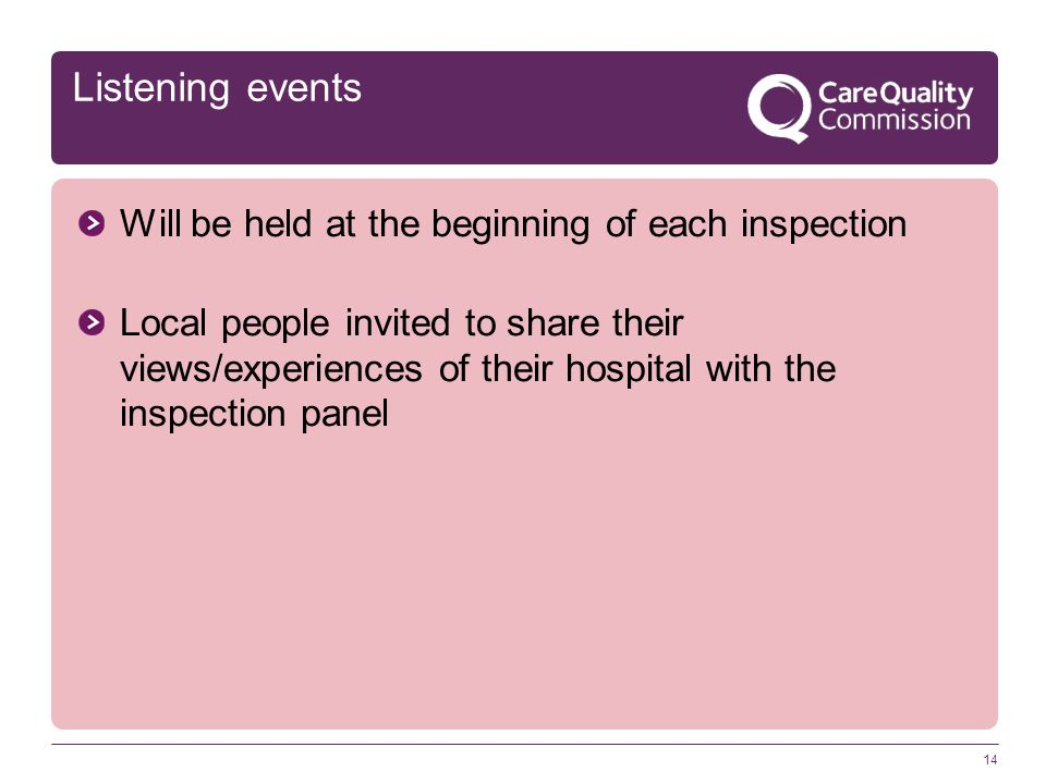14 Listening events Will be held at the beginning of each inspection Local people invited to share their views/experiences of their hospital with the inspection panel