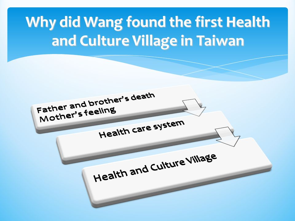 The comparison between Health and Culture Village and retirement center Health and Culture VillageRetirement center Concept Elderly men with no spouses or children, widows, orphans, elderly people without children or grandchildren, the handicapped, the ill – all are provided for.