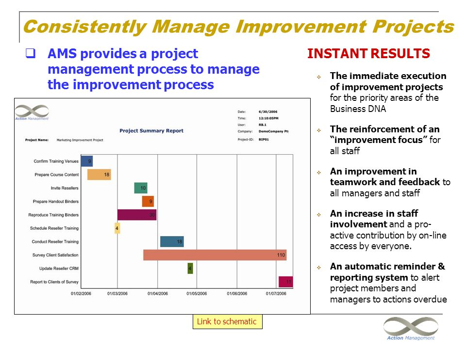 Consistently Manage Improvement Projects  AMS provides a project management process to manage the improvement process INSTANT RESULTS  The immediate