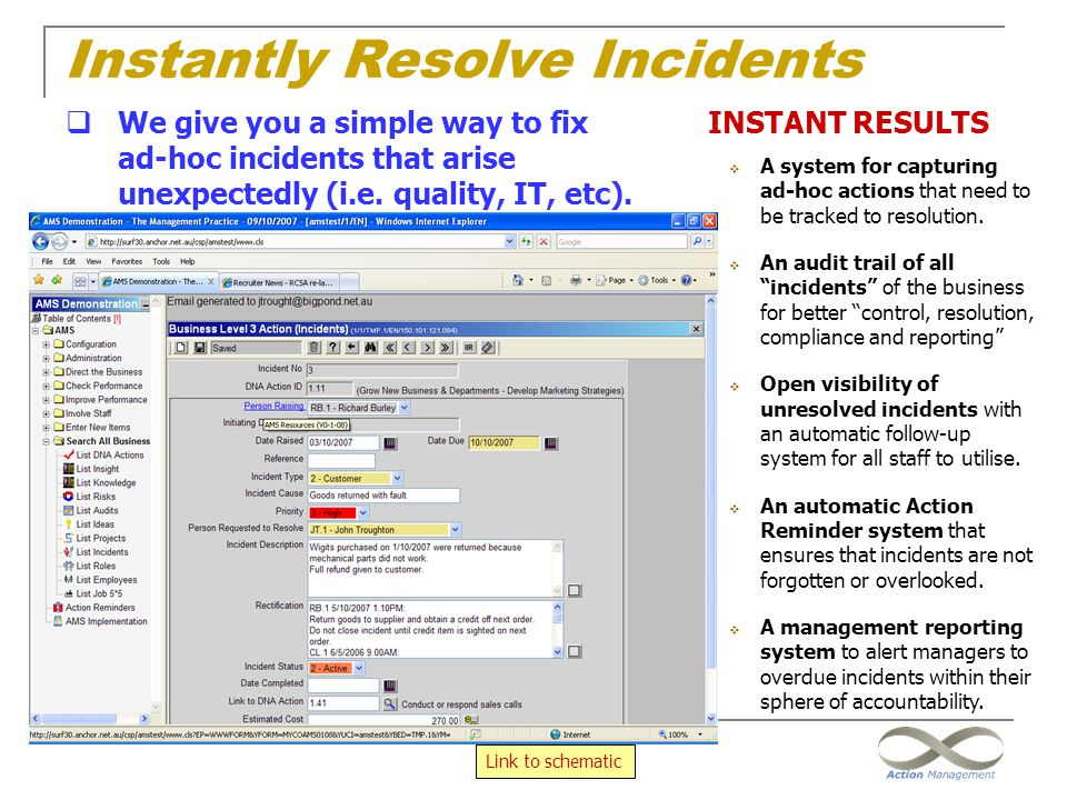 """Instantly Resolve Incidents INSTANT RESULTS  A system for capturing ad-hoc actions that need to be tracked to resolution.  An audit trail of all """"in"""
