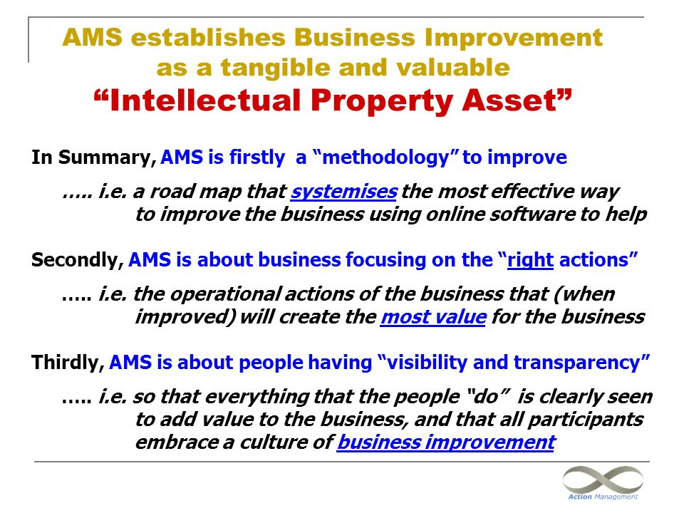 """AMS establishes Business Improvement as a tangible and valuable """"Intellectual Property Asset"""" In Summary, AMS is firstly a """"methodology"""" to improve …."""