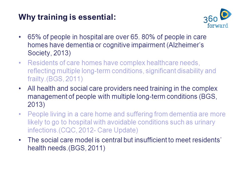 Why training is essential: 65% of people in hospital are over 65.