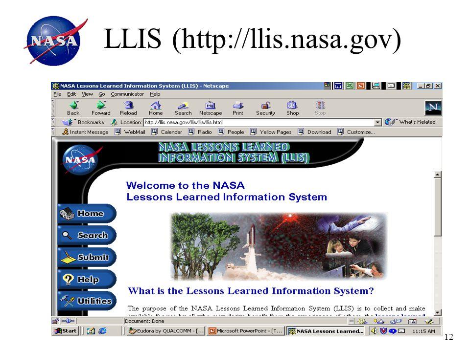 12 LLIS (http://llis.nasa.gov)
