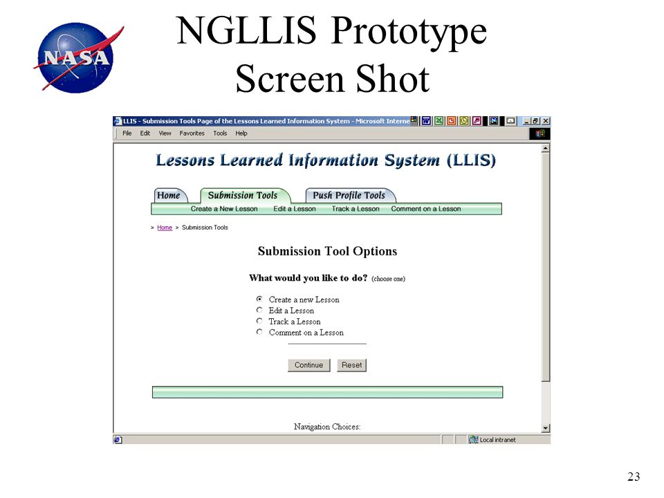 23 NGLLIS Prototype Screen Shot