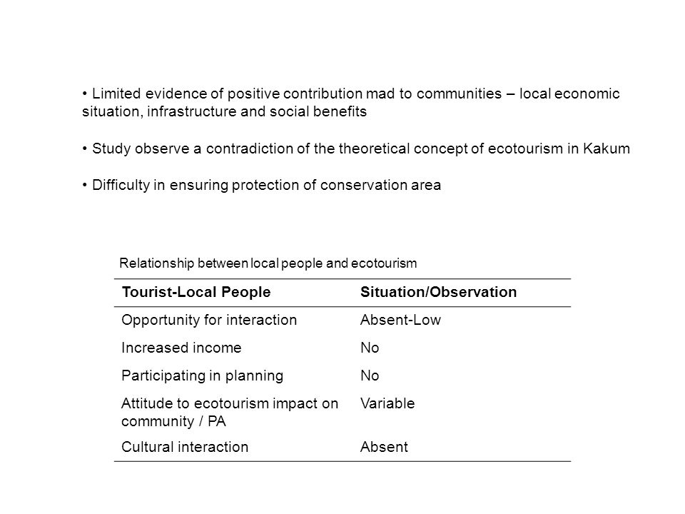 Limited evidence of positive contribution mad to communities – local economic situation, infrastructure and social benefits Study observe a contradict