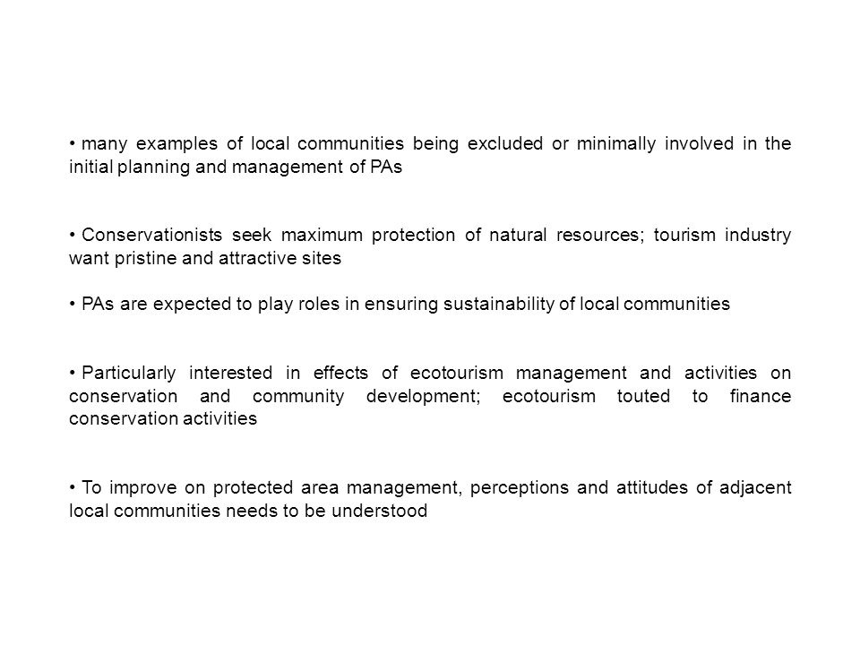 Perceived impacts of ecotourism in Kakum Ecotourism is to promote sustainable development of local populations Prices of most forest products increased 58.2% claim ecotourism plays no role in improving livelihood of local people Ecotourism is not beneficial to adjacent communities (Χ² = 30.98, p < 0.001) Gender was the most significant factor Perceptions of ecotourism's impact