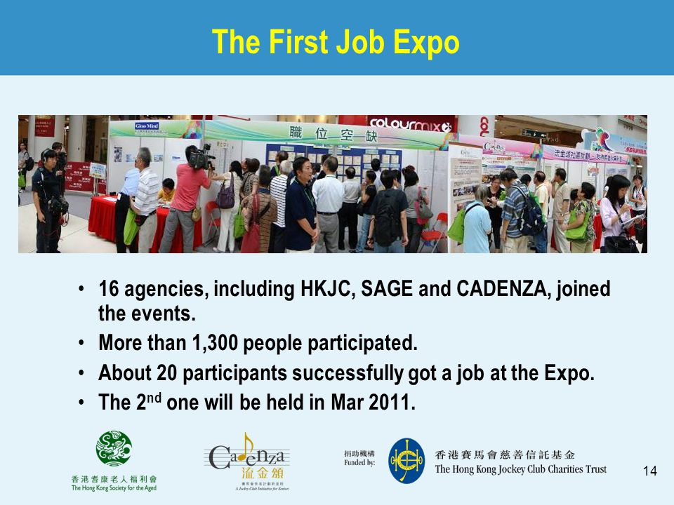 14 The First Job Expo 16 agencies, including HKJC, SAGE and CADENZA, joined the events. More than 1,300 people participated. About 20 participants suc