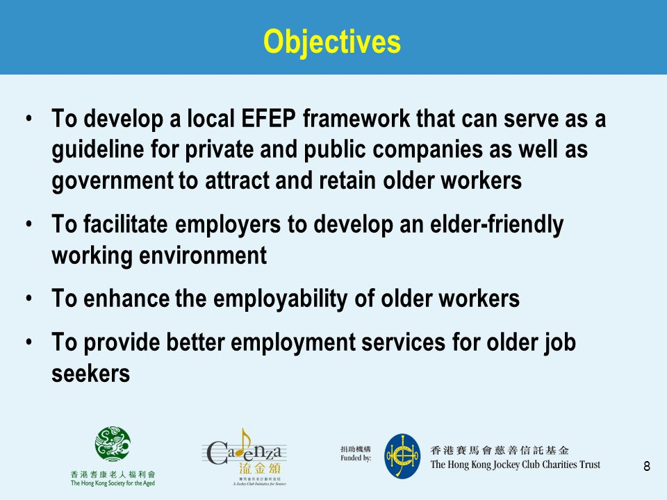 9 Research Component  Objectives: Examine the attitude of employers to an age-diverse workforce and the barriers they may face in retaining older workers Identify the needs of older workers to remain in the workforce Develop an age-friendly employment practice framework for private and public companies as well as the government to attract and retain older workers
