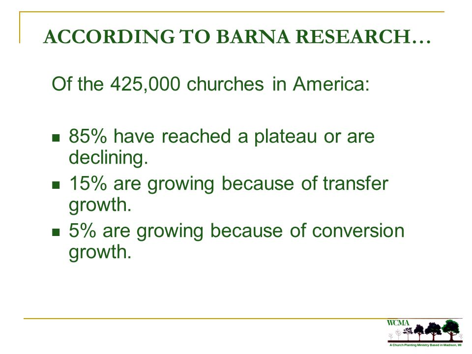 ACCORDING TO BARNA RESEARCH… Of the 425,000 churches in America: 85% have reached a plateau or are declining. 15% are growing because of transfer grow