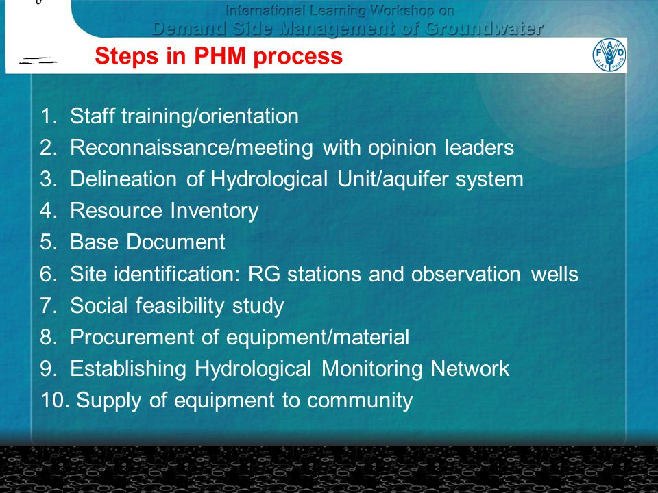 Steps in PHM process 1.Staff training/orientation 2.