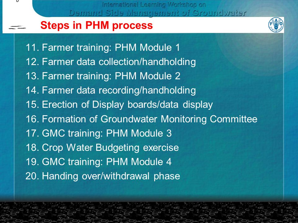 Steps in PHM process 11.Farmer training: PHM Module 1 12.