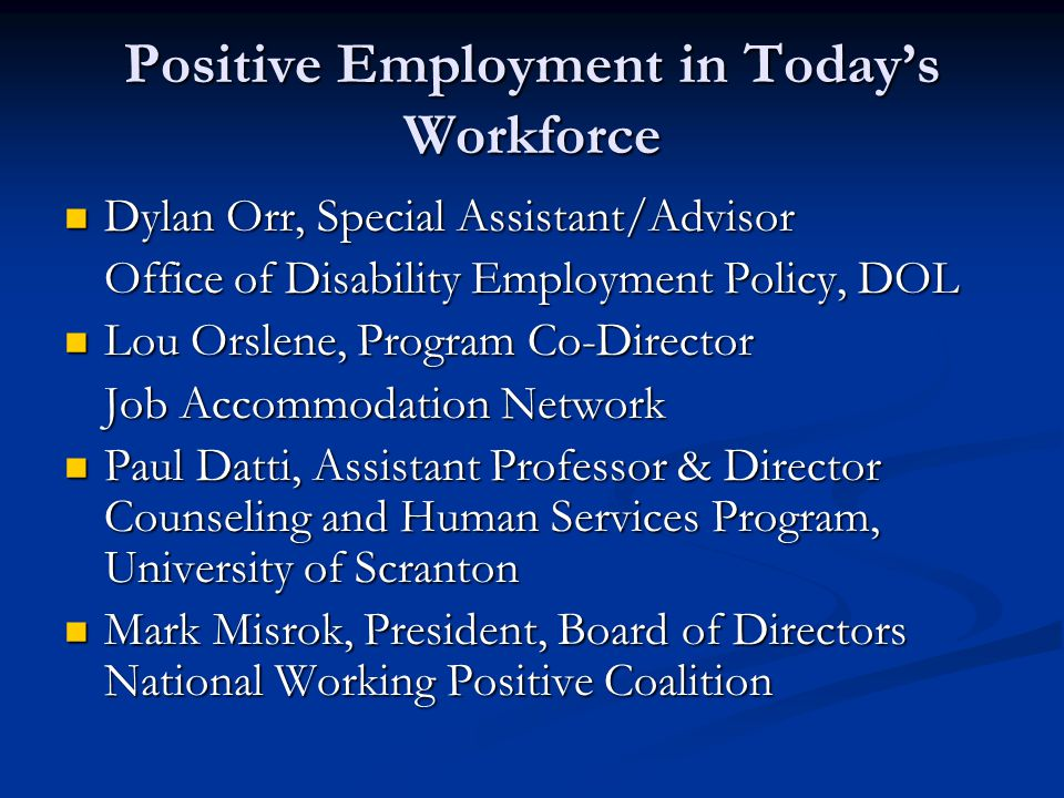 HIV/AIDS and Disability Introduction Introduction ODEP ODEP Disability Employment Stats (July CPS data) Disability Employment Stats (July CPS data) Unemployment – 16.8% versus 9% Unemployment – 16.8% versus 9% Labor force participation – 21.2% versus 70.2% Labor force participation – 21.2% versus 70.2% National HIV/AIDS Strategy National HIV/AIDS Strategy How many of you consider a person living with HIV/AIDS a person with a disability.