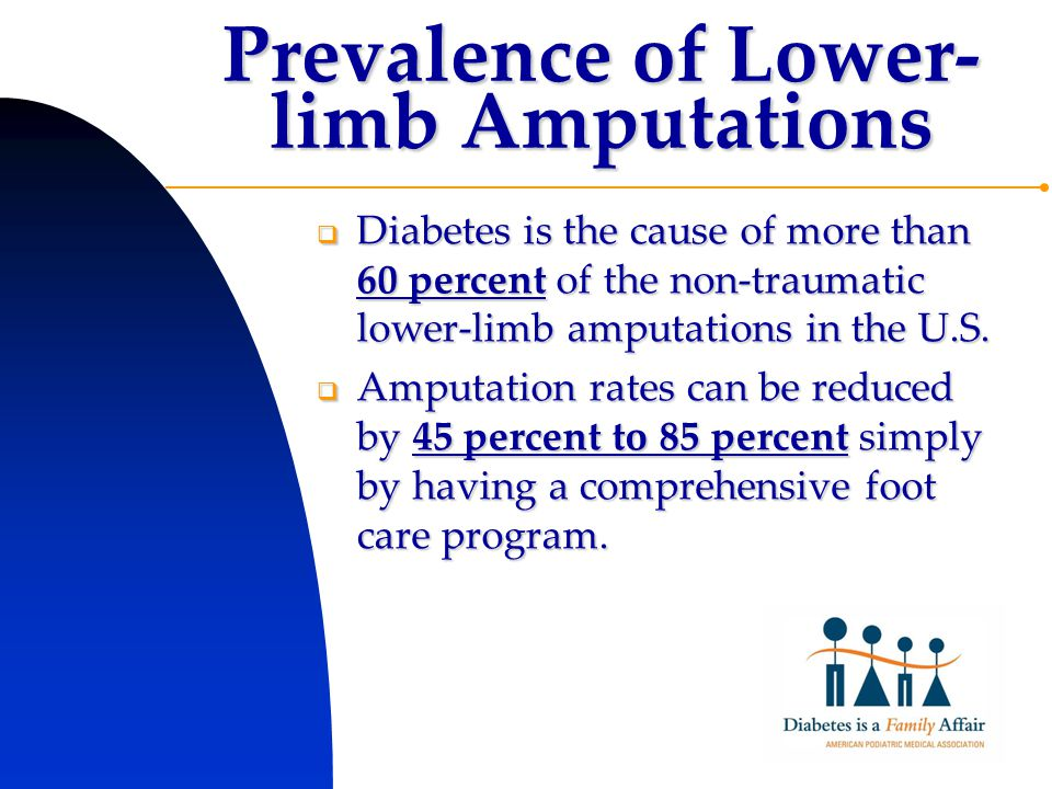 Prevalence of Lower- limb Amputations  Diabetes is the cause of more than 60 percent of the non-traumatic lower-limb amputations in the U.S.