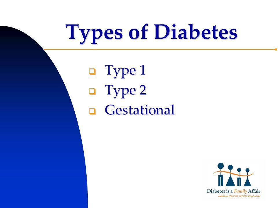 Types of Diabetes  Type 1  Type 2  Gestational