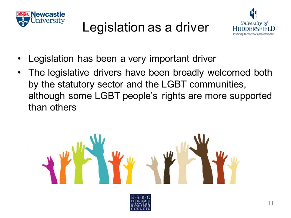 Legislation as a driver Legislation has been a very important driver The legislative drivers have been broadly welcomed both by the statutory sector a