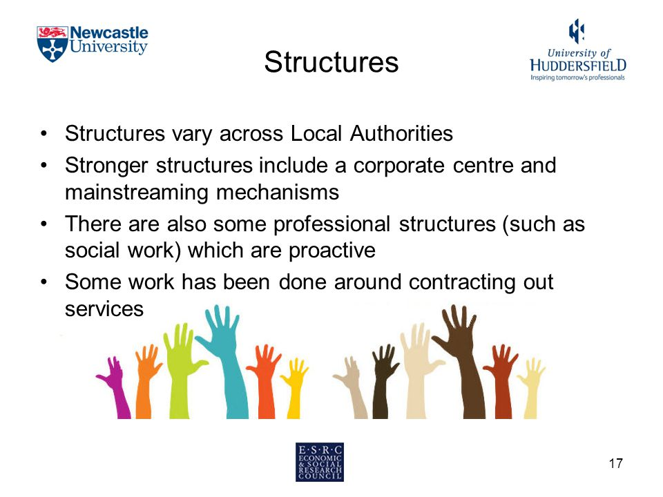 Structures Structures vary across Local Authorities Stronger structures include a corporate centre and mainstreaming mechanisms There are also some pr