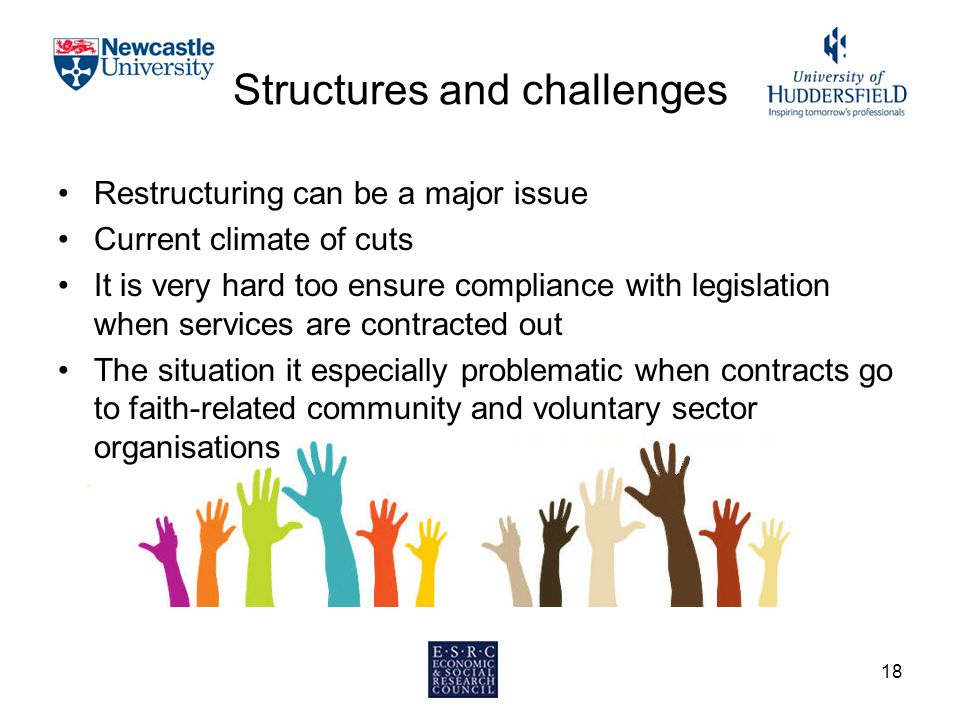 Structures and challenges Restructuring can be a major issue Current climate of cuts It is very hard too ensure compliance with legislation when services are contracted out The situation it especially problematic when contracts go to faith-related community and voluntary sector organisations 18