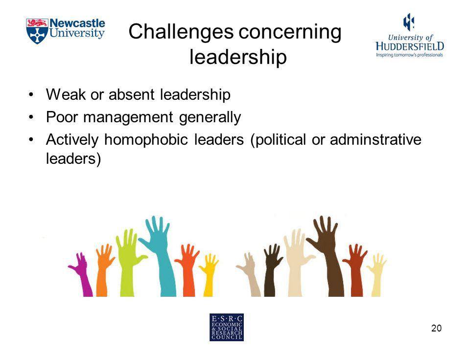 Challenges concerning leadership Weak or absent leadership Poor management generally Actively homophobic leaders (political or adminstrative leaders) 20