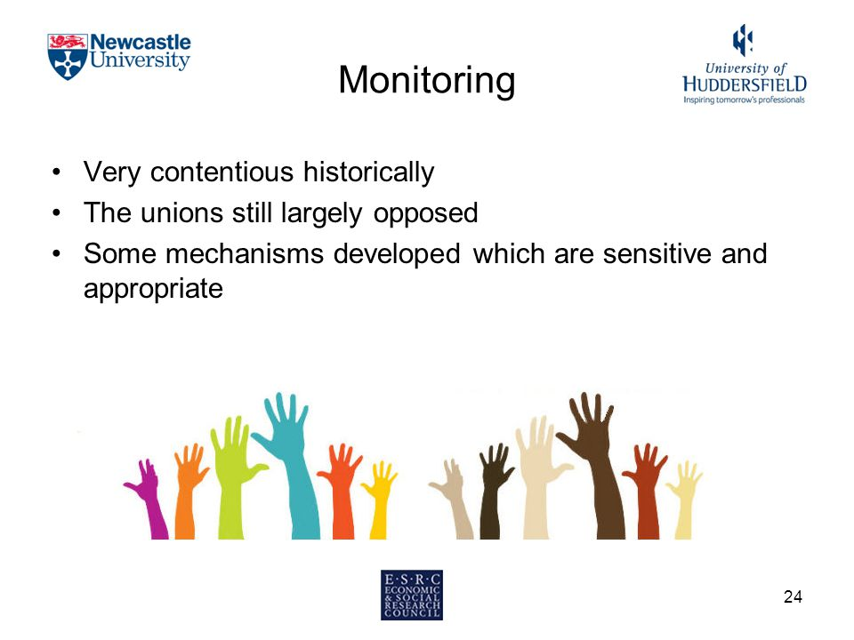 Monitoring Very contentious historically The unions still largely opposed Some mechanisms developed which are sensitive and appropriate 24