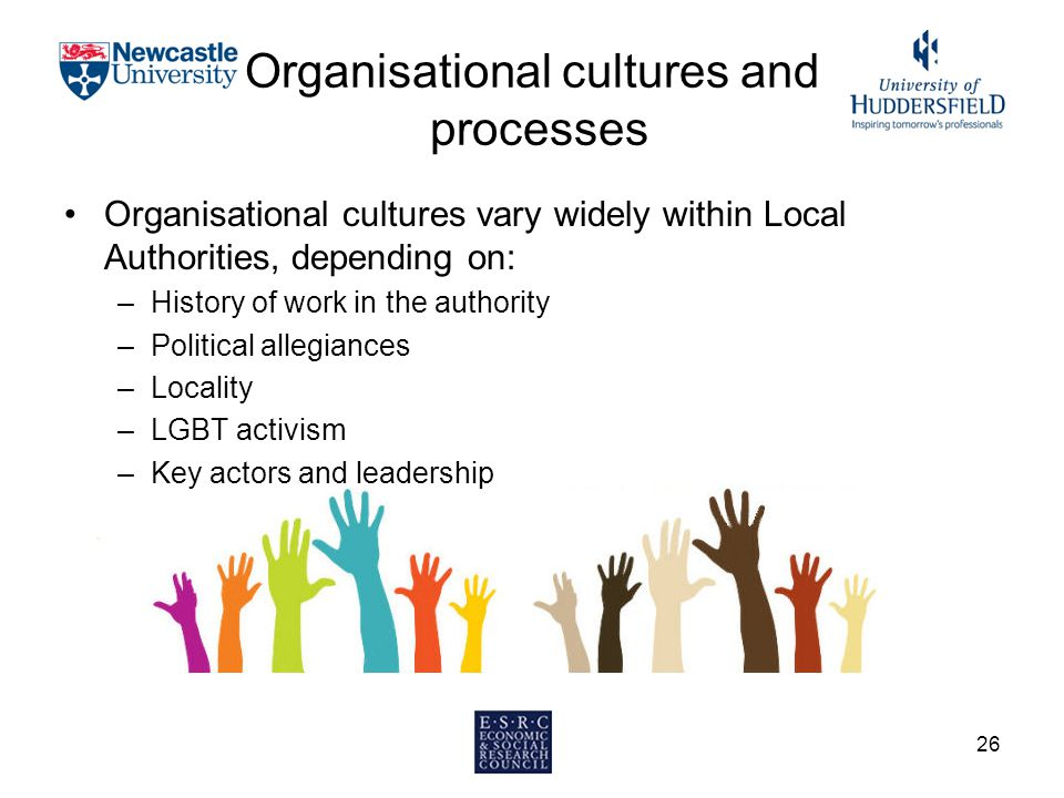 Organisational cultures and processes Organisational cultures vary widely within Local Authorities, depending on: –History of work in the authority –Political allegiances –Locality –LGBT activism –Key actors and leadership 26
