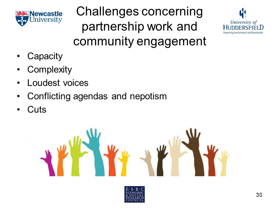 Challenges concerning partnership work and community engagement Capacity Complexity Loudest voices Conflicting agendas and nepotism Cuts 30