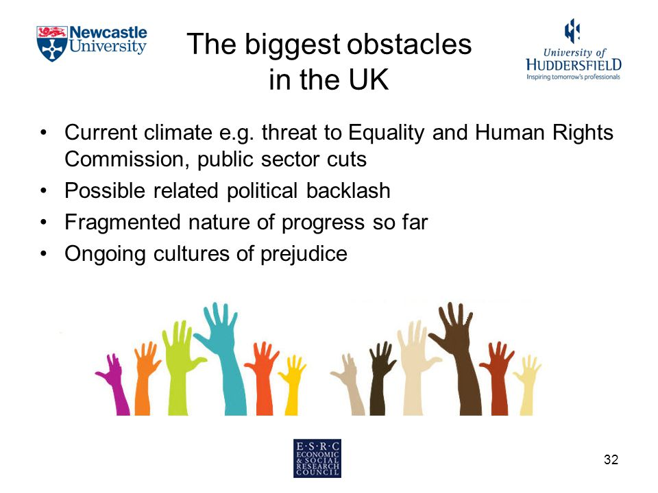 The biggest obstacles in the UK Current climate e.g. threat to Equality and Human Rights Commission, public sector cuts Possible related political bac