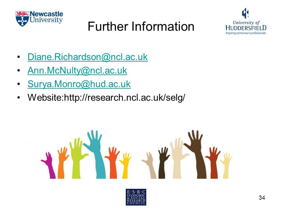 34 Further Information Diane.Richardson@ncl.ac.uk Ann.McNulty@ncl.ac.uk Surya.Monro@hud.ac.uk Website:http://research.ncl.ac.uk/selg/